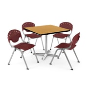 "OFM PKG-BRK-019-0021 36"" Square Laminate Multi-Purpose Table with 4 Chairs, Oak Table/Burgundy Chair"