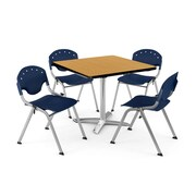 "OFM PKG-BRK-020-0023 42"" Square Laminate Multi-Purpose Table with 4 Chairs, Oak Table/Navy Chair"