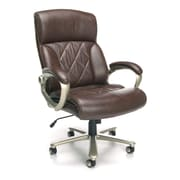 OFM Avenger Leather Executive Office Chair, Fixed Arms, Brown (845123051856)
