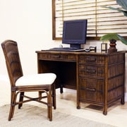 Hospitality Rattan Polynesian Computer Desk with Chair and Keyboard Tray; Bahamian Breeze Cinnamon