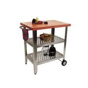 John Boos Cucina Americana Kitchen Cart with Wood Top; Cherry