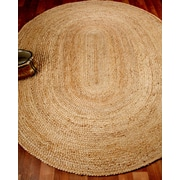 Natural Area Rugs Edison Oval 100pct Natural Jute Hand Braided Area Rug; Oval 8' x 10'
