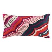 Trina Turk Malibu Oblong Embroidered Linen Throw Pillow; Berry