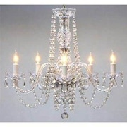 Harrison Lane 5 Light Crystal Chandelier with Swag Plug-in Kit