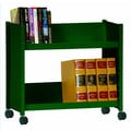 Sandusky Sloped-Shelf Mobile Book Truck; Forest Green