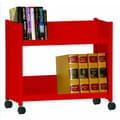 Sandusky Sloped-Shelf Mobile Book Truck; Red