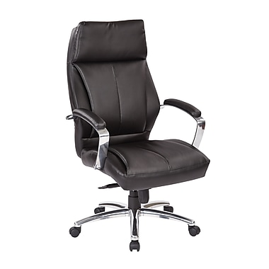 Office Star Proline Deluxe High-Back Executive Eco Leather Chair, Black