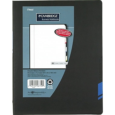 Cambridge® Tab Business Notebooks, 9-1/2