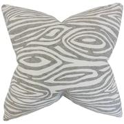 The Pillow Collection Thirza Swirls Cotton Throw Pillow; Gray