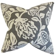 The Pillow Collection Izzy Floral Cotton Throw Pillow; Gray