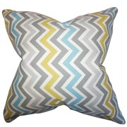 The Pillow Collection Howel Zigzag Cotton Throw Pillow; Gray Blue