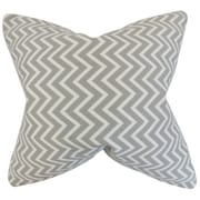 The Pillow Collection Sula Zigzag Cotton Throw Pillow; Light Gray