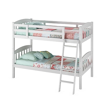 CorLiving BAF-110-B Ashland Twin/Single Bunk Bed, Snow White