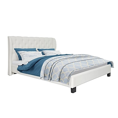 CorLiving – Grand lit BFF-210-Q de la collection Fairfield capitonné en cuir reconstitué, blanc