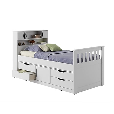 CorLiving BMG-110-B Madison Twin/Single Captain's Bed, Snow White