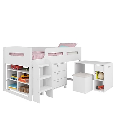 CorLiving BMG-210-B Madison 5pc All-in-One Single/Twin Loft Bed, Snow White