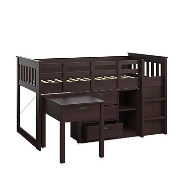 CorLiving BMG-370-B Madison Single/Twin Loft Bed with Desk and Storage, Rich Espresso