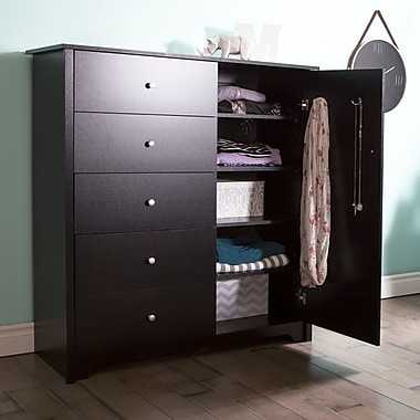South Shore Vito Door Chest with 5 Drawers, Pure Black, 47.5