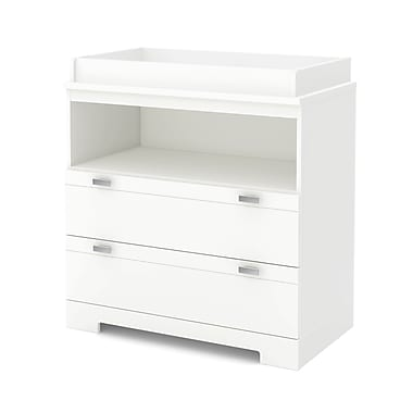 South Shore Reevo Changing Table with Storage, Pure White, 35.5
