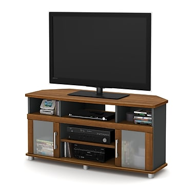 South Shore City Life Corner TV Stand, Morgan Cherry and Charcoal, 47.25