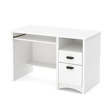 South Shore Gascony Computer Desk with Keyboard Tray, Pure White, 47.5