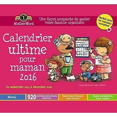 Motherword calendrier mural mensuel 2015 2016 12 po x for Calendrier mural 2015