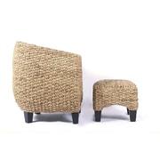 Boraam Havana Rubberwood/Water HyacinthTub Chair And Ottoman, Tobacco
