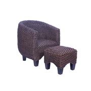 Boraam Havana Rubberwood/Water HyacinthTub Chair And Ottoman, Natural