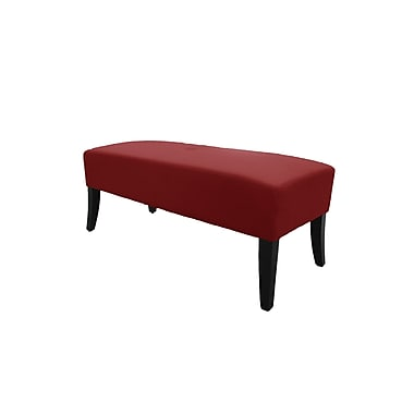JR Home Collection Bonded Leather Upholstered Bench, Crimson Red