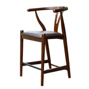 Boraam Wishbone 35'' Casual Legged Base Leather Bar Stool, Walnut (53024)