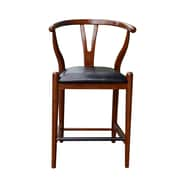 Boraam Wishbone 35'' Casual Legged Base Leather Bar Stool, Cherry (51024)