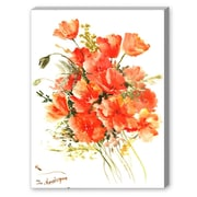 Americanflat Orange Flowers Painting Print on Canvas; 21'' H x 27'' W x 1.5'' D