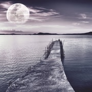 Empire Art Direct ''Pier with Moon Rising'' Photographic Print Plaque