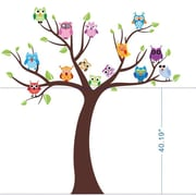 Pop Decors Colorful Owls and Tree Removable Vinyl Art Wall Decal