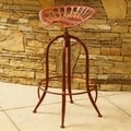 Home Loft Concept Lexie Adjustable Height Bar Stool; Distressed Red