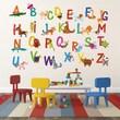 Pop Decors Repositionable 26 Alphabet Animals Wall Sticker