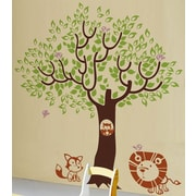 Pop Decors Leaf Tree with Cute Animals Removable Vinyl Art Wall Decal