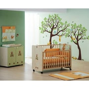 Pop Decors Lovely Pine Tree Baby Nursery Tree with Animals Wall Decal