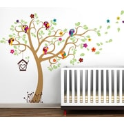 Pop Decors Nursery Tree with Colorful Parrots Removable Vinyl Art Wall Decal