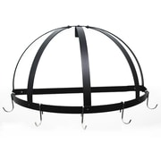 Rogar Gourmet Half Dome Wall Mounted Pot Rack; Black/Chrome
