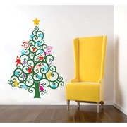Pop Decors Happy Christmas Tree Wall Decal Removable Vinyl Art Wall Decal