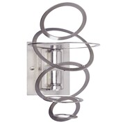 Dainolite Tiered Ring 2 Light Wall Sconce; Satin Chrome