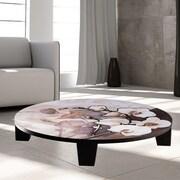 TAF DECOR White on Brown Coffee Table; 44'' (Diameter)