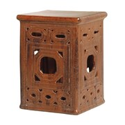 Emissary Square Frame Lattice Garden Stool; Brown