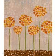 Green Leaf Art Floral Squares Painting Print on Wrapped Canvas
