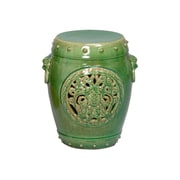 Emissary Dragon Medallion Garden Stool; Jade Crackle