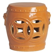 Emissary Double Fortune Garden Stool; Tangerine Orange