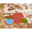 Green Leaf Art Apples on Texture Painting Print on Wrapped Canvas
