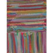 Green Leaf Art Stripes 3 Painting Print on Wrapped Canvas