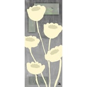 Green Leaf Art Contemporary Flowers 2 Painting Print on Wrapped Canvas